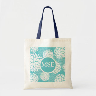 Teal White Floral Pattern Tote Bag