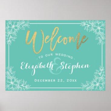 McTiffany Tiffany Aqua Teal & White Floral Wedding Welcome Reception Sign