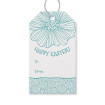 Teal White Flower Swirls Easter Gift Tags