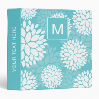 Teal White Flowers Monogram 3 Ring Binder