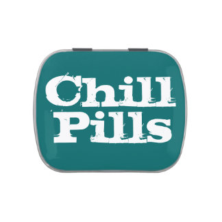 Teal/White Funny Chill Pills Container Candy Tin