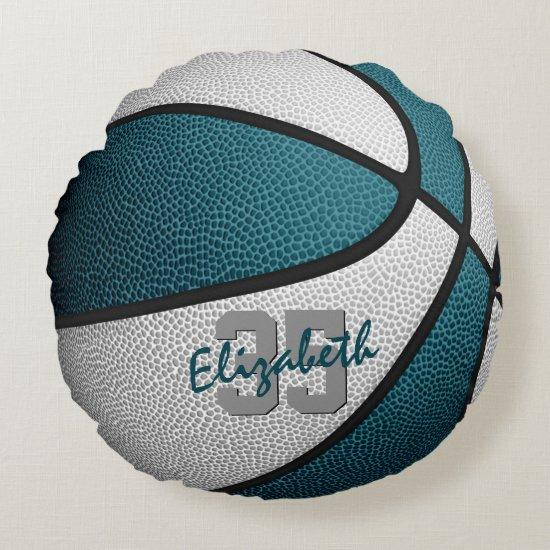 teal white girls boys sporty basketball round pillow