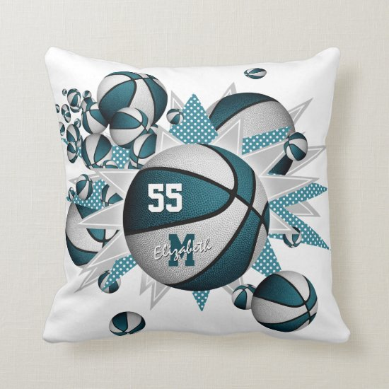 teal white girly sports decor basketball blowout throw pillow