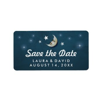 Teal White Gold Moon & Stars Hearts Matching Address Label by juliea2010 at Zazzle