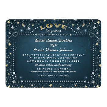 "Teal White & Gold Moon & Stars ""together With"" 5x7 Paper Invitation Card by juliea2010 at Zazzle"