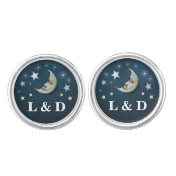 Teal White & Gold Moon & Stars Wedding Initials Cufflinks by juliea2010 at Zazzle