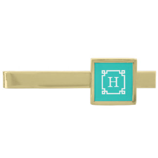 Teal White Greek Key Frame #2 Initial Monogram Gold Finish Tie Bar