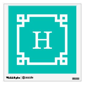Teal White Greek Key Frame #2 Initial Monogram Wall Sticker