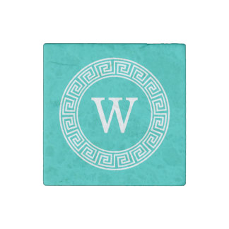 Teal White Greek Key Round Frame Initial Monogram Stone Magnet