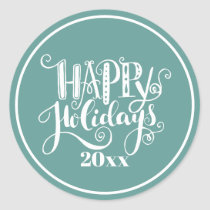 Teal White Happy Holidays Classic Round Sticker