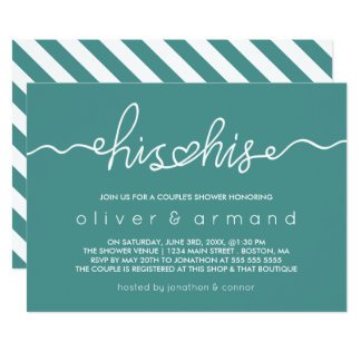 Teal & White | His & His Couple's Shower Card