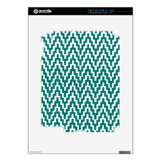 Teal White Ikat Chevron Zig Zag Stripes Pattern Decal For iPad 2