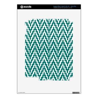 Teal White Ikat Chevron Zig Zag Stripes Pattern iPad 3 Skins