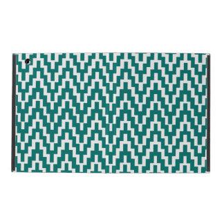 Teal White Ikat Chevron Zig Zag Stripes Pattern iPad Folio Case