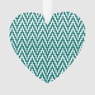 Teal White Ikat Chevron Zig Zag Stripes Pattern Ornament
