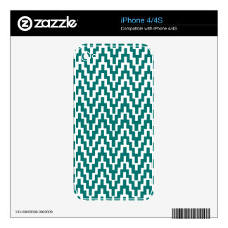 Teal White Ikat Chevron Zig Zag Stripes Pattern Skin For The iPhone 4S