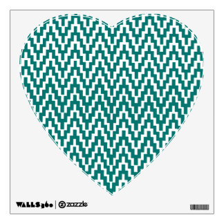 Teal White Ikat Chevron Zig Zag Stripes Pattern Wall Decal