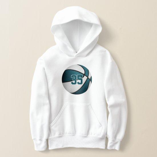 teal white kids jersey number basketball hoodie