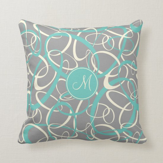 teal white loops on gray geometric pattern throw pillow
