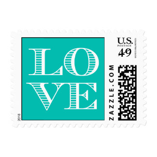 Teal White LOVE Postage Stamps small