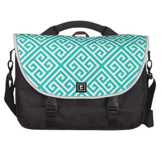 Teal White Med Greek Key Diag T Pattern #1 Laptop Commuter Bag