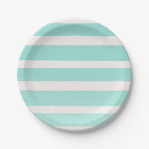 Teal & White Modern Chic Stripes Paper Plate