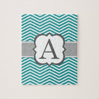 Teal White Monogram Letter A Chevron Jigsaw Puzzle