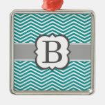 Teal White Monogram Letter B Chevron Metal Ornament