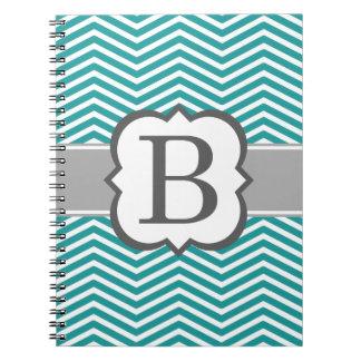 Teal White Monogram Letter B Chevron Notebook
