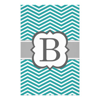 Teal White Monogram Letter B Chevron Stationery