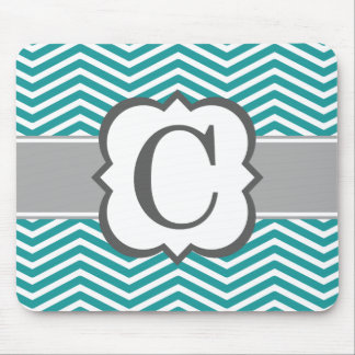 Teal White Monogram Letter C Chevron Mouse Pad