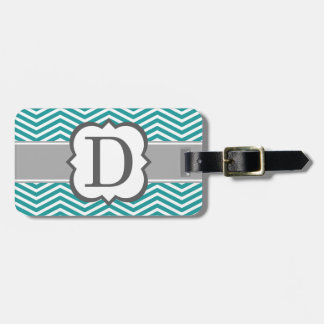 Teal White Monogram Letter D Chevron Bag Tag