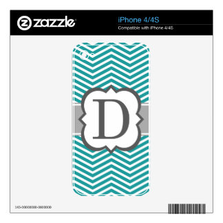 Teal White Monogram Letter D Chevron Skins For The iPhone 4