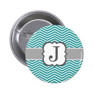 Teal White Monogram Letter J Chevron 2 Inch Round Button