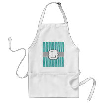 Teal White Monogram Letter L Chevron Adult Apron