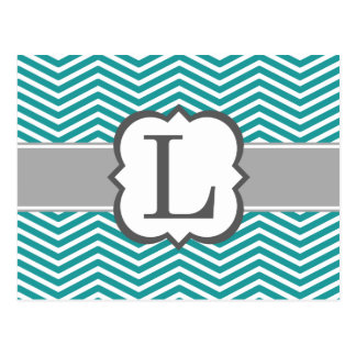 Teal White Monogram Letter L Chevron Postcard