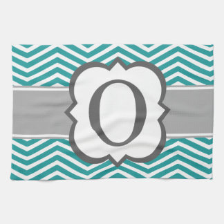 Teal White Monogram Letter O Chevron Kitchen Towel