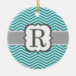 Teal White Monogram Letter R Chevron Ceramic Ornament