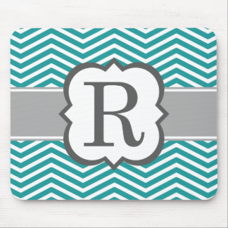 Teal White Monogram Letter R Chevron Mouse Pad