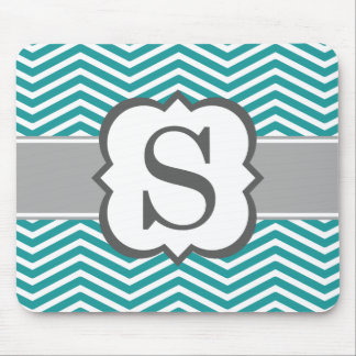 Teal White Monogram Letter S Chevron Mouse Pad