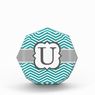 Teal White Monogram Letter U Chevron Acrylic Award