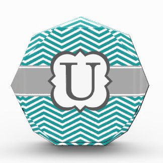 Teal White Monogram Letter U Chevron Award