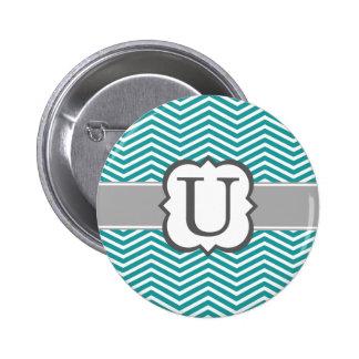 Teal White Monogram Letter U Chevron Pinback Button