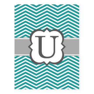 Teal White Monogram Letter U Chevron Postcard