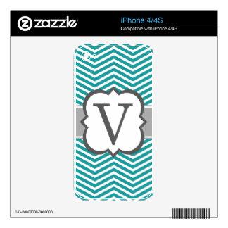 Teal White Monogram Letter V Chevron Skin For The iPhone 4