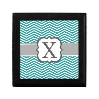 Teal White Monogram Letter X Chevron Jewelry Boxes