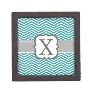 Teal White Monogram Letter X Chevron Premium Trinket Box