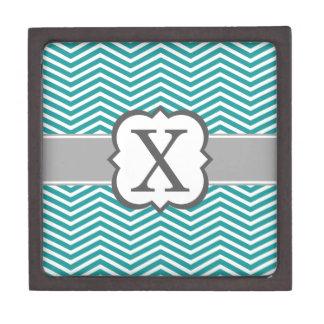 Teal White Monogram Letter X Chevron Premium Trinket Boxes