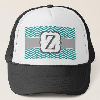 Teal White Monogram Letter Z Chevron Trucker Hat