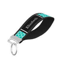 Teal White Moroccan #5 Black Name Monogram Wrist Keychain